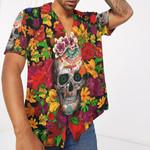 Gearhumans 3D Day Of The Dead Sugar Skull With Flower Custom Short Sleeve Shirt