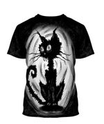 Gearhumans 3D Halloween Black Cat Custom Bleached Tshirt