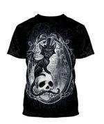 Gearhumans 3D Halloween Vampire Cat Witchy Custom Bleached Tshirt