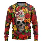 Gearhumans 3D Day Of The Dead Sugar Skull With Flower Custom Tshirt Hoodie Apparel