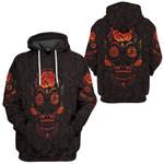 Gearhumans 3D Red Mexican Sugar Skull Day Of The Dead Custom Tshirt Hoodie Apparel