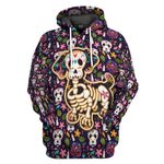 Gearhumans 3D Sugar Skull Mexican Dachshund Bone Day Of The Dead Custom Tshirt Hoodie Apparel