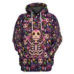 Gearhumans 3D Sugar Skull Mexican Rabbit Bone Day Of The Dead Custom Tshirt Hoodie Apparel