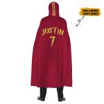 Gearhumans 3D Gryffindor Quidditch Robe Custom Name Custom Number Hooded Cloak