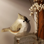 Handmade Painted Wooden Carving Tufted tit Bird