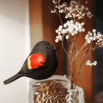 Handmade Painted Wooden Carving Red Winged Blackbird