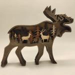 3D Natural Decoration Elk Wooden Ornament