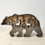 3D Natural Decoration Bear Wooden Ornament