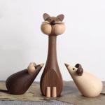 Scandinavian Style Handicraft Wooden Cat&Mouse