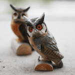 Handmade Painted Wooden Carving Owl Series