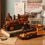 Vintage Steam Train Locomotive Handmade Wood Carving Model
