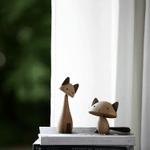 Scandinavian Style Handicraft Wooden Cat