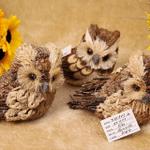 Handmade Straw Crafts Owl Decoration (3-piece set)