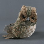 Handmade Straw Crafts Dark Green Feathered Owl