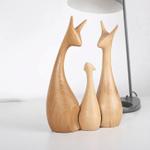 Scandinavian Style Handicraft Wooden Fawns Family