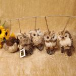 Handmade Straw Crafts Owl Ornament (5-piece set)