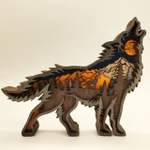 3D Natural Decoration Wolf Wooden Ornament