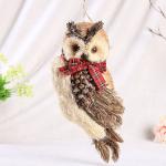 Handmade Straw Crafts Owl Wearing a Scarf Ornaments