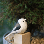 Handmade Painted Wooden Carving Long-tailed Tit