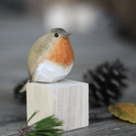 Handmade Painted Wooden Carving Coloured Robin Bird
