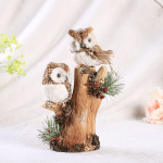 Handmade Straw Crafts/Two Owls on Tree Branches