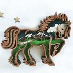 3D Natural Decoration Horse Wooden Ornament