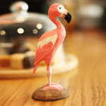 Handmade Painted Wooden Carving Flamingo