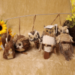 Handmade Straw Crafts Owl Ornament B (5-piece set)
