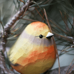 Handmade Painted Wooden Carving Flower Finch