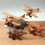 Vintage Biplane Propeller Aircraft Handmade Wood Carving Model