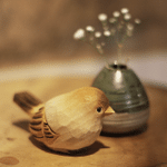 Handmade Painted Wooden Carving Sparrow