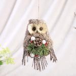 Handmade Straw Crafts Christmas Elf Owl Ornaments