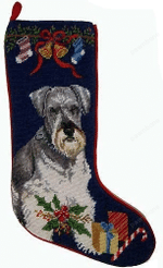 Needlepoint Christmas Dog Breed Stocking - Schnauzer With Bow And Bells
