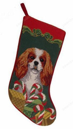 Needlepoint Christmas Dog Breed Stocking -Cavalier King Charles Spaniel With Candy Canes