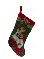 Needlepoint Christmas Dog Breed Stocking -Jack Russell With Bow + Poinsettias