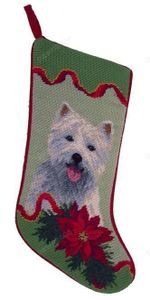 Needlepoint Christmas Dog Breed Stocking - Westie With Poinsettia