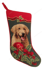 Needlepoint Christmas Dog Breed Stocking - Golden Retriever With Holly