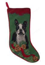 Needlepoint Christmas Dog Breed Stocking -Boston Terrier With Pine Cones