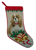 Needlepoint Christmas Dog Breed Stocking -Cavalier King Charles Spaniel With Holly + Bells