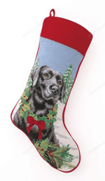 Needlepoint Christmas Dog Breed Stocking - Black Lab With Wreath