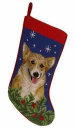 Needlepoint Christmas Dog Breed Stocking - Corgi + Stars And Holly