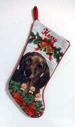 Needlepoint Christmas Dog Breed Stocking -Dachshund - Brown With Bells And Candles