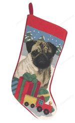 Needlepoint Christmas Dog Breed Stocking -Fawn Pug With Presents