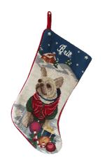 Needlepoint Christmas Dog Breed Stocking -Tan Frenchie Winter Scene