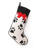 Needlepoint Christmas Dog Stocking-Paw Prints And Red Bow