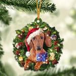 Red Dachshund Christmas Gift Acrylic Ornament