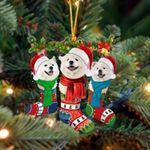 Samoyed Christmas Socks Ornament