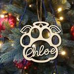 Dog Angel Wings Custom Pet Name Christmas Ornaments