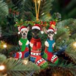 Chihuahua Christmas Socks Ornament