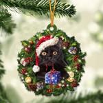 Black Cat Christmas Gift Acrylic Ornament